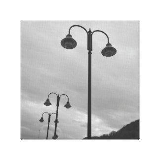 Lampposts retros pretos & 4Mauree branco Impressão Em Tela