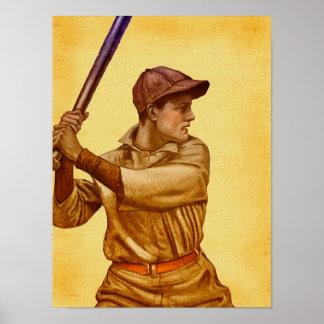 Lançador do basebol no estilo antigo do pergaminho impressão