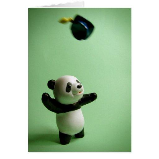 Lance do boné de formatura do urso de panda cartao