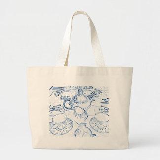 Lanche no azul bolsas para compras