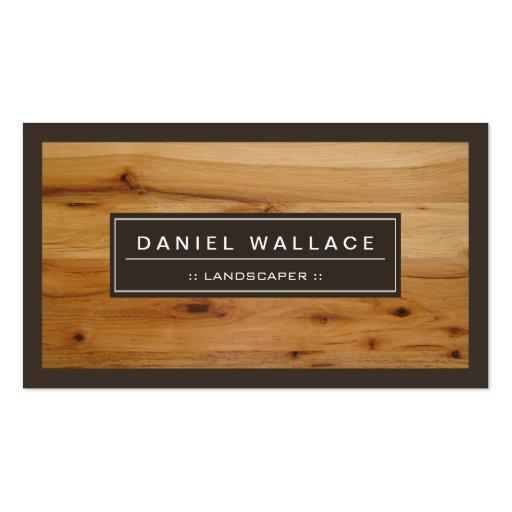 Landscaper - olhar de madeira elegante da grão modelos cartao de visita