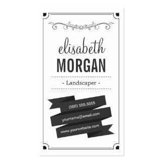 Landscaper - preto e branco retro cartao de visita