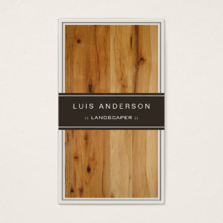 Landscaper - textura de madeira à moda cartão de visitas
