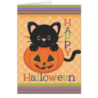 Lanterna bonito feliz do o de Jack do gato do Dia Cartão Comemorativo