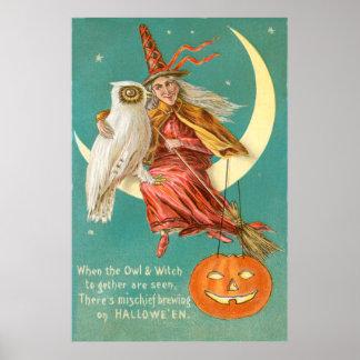 Lanterna crescente de Jack O da lua da coruja da b Poster