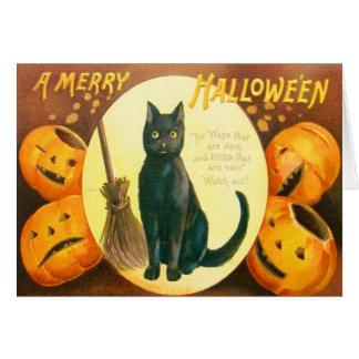Lanterna de Jack O do gato preto da abóbora Cartão Comemorativo