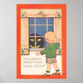 Lanterna de Jack O no menino Scared janela Poster