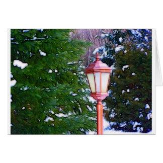 Lanterna vermelha no inverno cartão