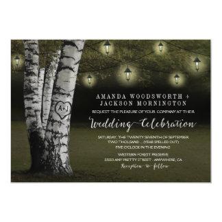 Lanternas + Convites rústicos do casamento da