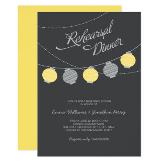 Lanternas de papel cinzentas amarelas do jantar de convite 12.7 x 17.78cm