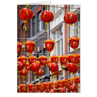 Lanternas em Chinatown, cartão de Londres
