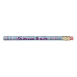 Lápis A xadrez roxa e azul personaliza