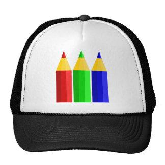 Lápis coloridos do desenho dos desenhos animados boné