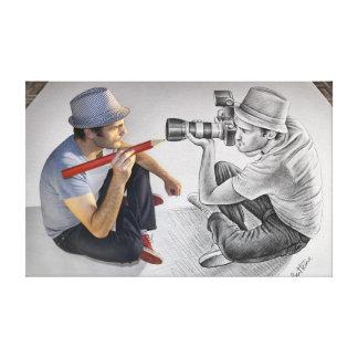 Lápis contra a câmera - espelho 3D Impressão Em Canvas