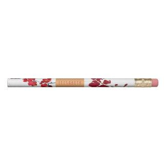 Lápis Flor vermelha pintada com etiqueta de cobre e seu