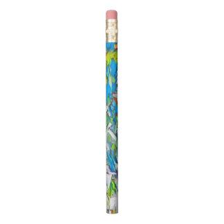Lápis Os azuis brilhantes, os verdes e os brancos do