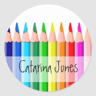 Lápis - personalizados adesivo redondo