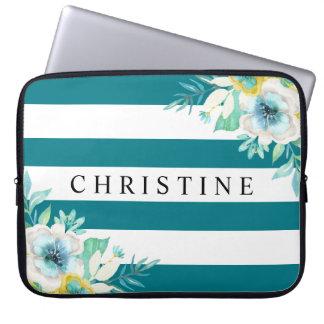 Laptop floral azul da listra da aguarela do Aqua Capa Para Notebook