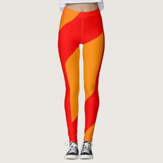 laranja abstrata e legging vermelho
