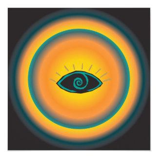 Laranja azul de vista antiga do design tribal do convite quadrado 13.35 x 13.35cm