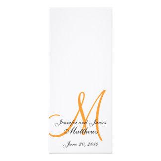 Laranja branca de linho do monograma do programa convite 10.16 x 23.49cm