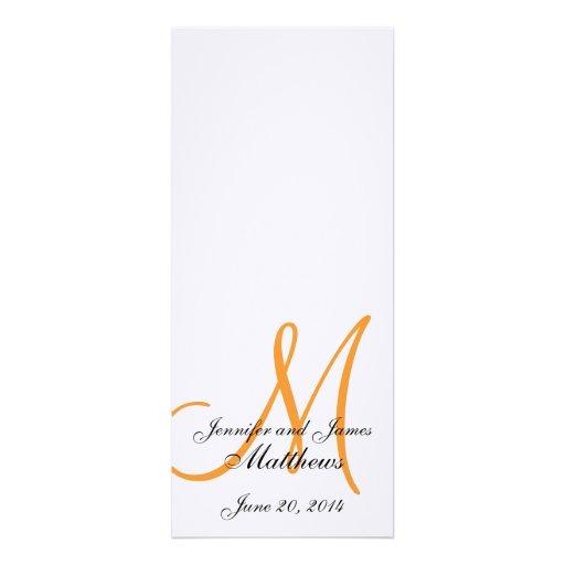 Laranja branca de linho do monograma do programa d convite