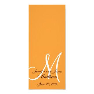 Laranja & branco do monograma do programa da convite 10.16 x 23.49cm