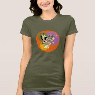 Laranja brilhante colorida feminino do círculo dos camiseta