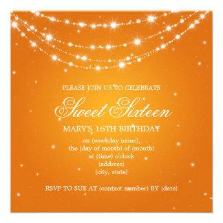 Laranja Chain Sparkling do partido do doce dezesse Convites Personalizados