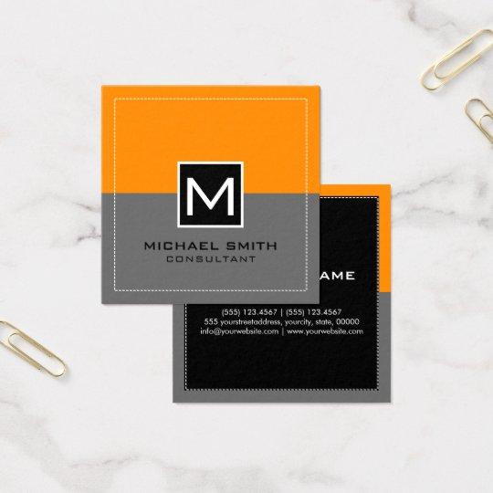 Laranja cinzenta moderna elegante do monograma cartão de visitas quadrado