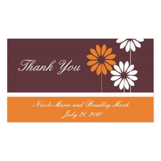 Laranja e cartões de agradecimentos do casamento d cartao de visita