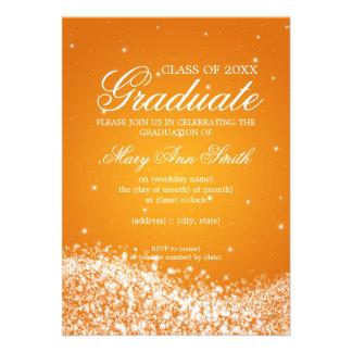 Laranja elegante da onda Sparkling da festa de for Convite Personalizados