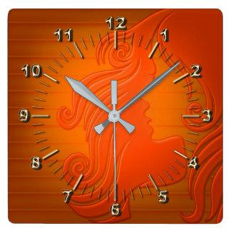 Laranja elegante relógio quadrado