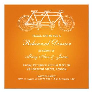 Laranja em tandem da bicicleta do jantar de ensaio convites personalizado