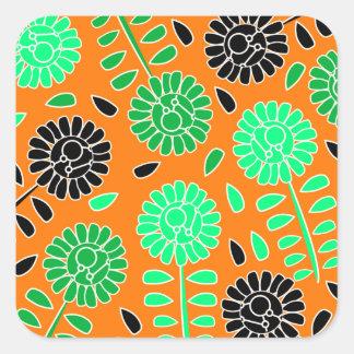 laranja floral do contraste adesivo quadrado