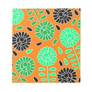 laranja floral do contraste bloco de anotação
