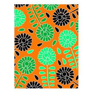 laranja floral do contraste cartão postal