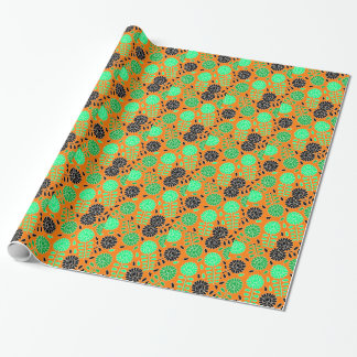 laranja floral do contraste papel de presente