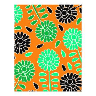 laranja floral do contraste papel timbrado