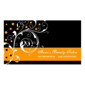 Laranja floral do preto da folha do rolo do salão cartão de visita