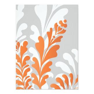 Laranja floral tropical, branco & cinzas convites