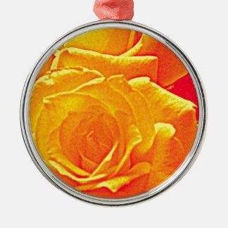 laranja fluorescente do rosa ornamento redondo cor prata