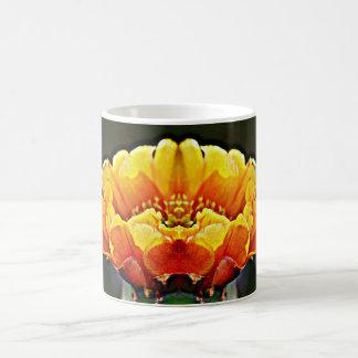 Laranja na caneca de café preta da flor do cacto