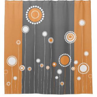 Laranja retro do teste padrão de flores cortina para chuveiro