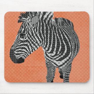 Laranja retro Mousepad da zebra
