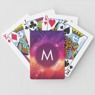 Laranja roxa do monograma das palmeiras do por do jogo de carta
