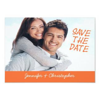 Laranja simples da foto dos cartões salve a data convites personalizados