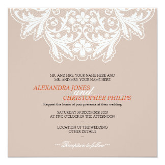 Laranja Wedding do texto elegante simples branco Convites Personalizado