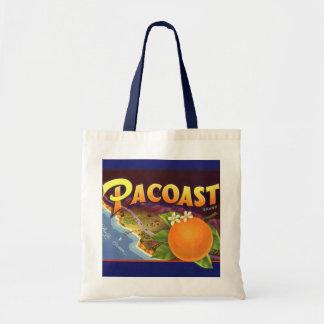 Laranjas de Pacoast, arte da etiqueta da caixa da  Bolsa De Lona