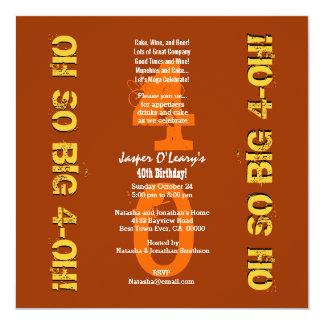 Laranjas do aniversário de 40 anos oh 4 oh e ouro convite personalizados